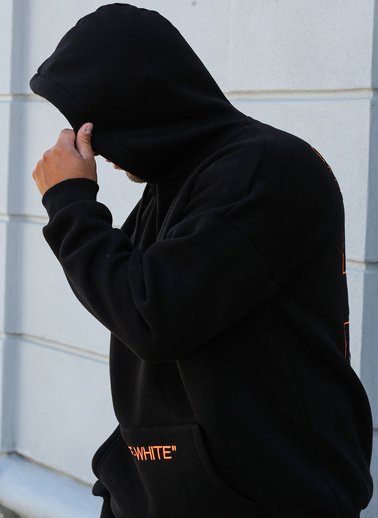 XHAN Siyah Arkası Baskılı Sweatshirt 1Kxe8-44325-02 Siyah